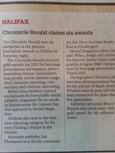 Nova Scotia's Chronicle Herald was right to celebrate its own success. Or is it Chroinicle ?  Ah, the irony....