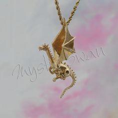 Fantasy Flying Dragon Pendant in 14k Gold by MysticSwan on Etsy