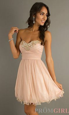 a0a46ffc3d39 Short Strapless Sweetheart Prom Dress at PromGirl.com  fashion  Dresses   cruise