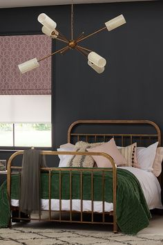 The aged patina of a vintage brass bed adds character and class, while the sculptural beauty of an iconic sputnik ceiling light quietly demands attention Glamourous Bedroom, Beautiful Bedrooms, Interior, Home Decor Bedroom, Home Bedroom, Bedroom Colour Palette, House Interior, Brass Bed, Interiors Dream