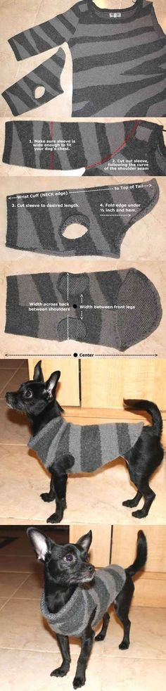Check out 12 DIY Dog Clothes and Coats | Upcycled Dog Sweater Want to know how to make DIY dog clothes? If your furry pup needs a makeover, these dog outfit ideas may just be the thing you need! Make them look cute! See more fromhttp://diyready.com/diy-dog-clothes-and-coats/