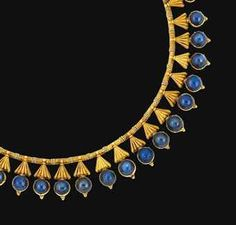 A sapphire fringe necklace, attributed to Carlo Giuliano. Designed as a series of grooved triangular-shaped tassels, each suspending a circular cabochon sapphire, to the fancy-link chain and later clasp, unsigned Jewelry Art, Gold Jewelry, Jewelry Accessories, Fine Jewelry, Jewelry Design, Jewelry Making, Jewlery, Victorian Jewelry, Antique Jewelry