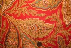 Antique-19th-Century-Turkey-Red-Cotton-Paisley-Fabric-Quilting-Crafts