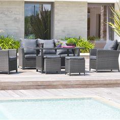 CARREFOUR Set encastrable de jardin OSAKA, Salon de Jardin Carrefour ...