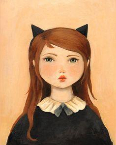 Portrait witih chat oreilles imprimer 8 x 10 par theblackapple, $16.00