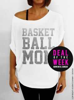 Basketball Mom - White with Silver Slouchy Tee #mom #mothersday #gift #idea
