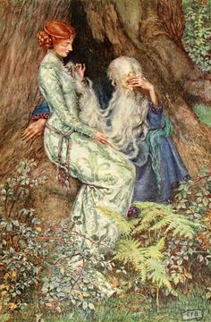Eleanor Fortescue-Brickdale (1872-1945) Merlin and Vivien Watercolor on paper 1910-1911