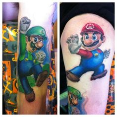 Mario & Luigi tattoo done by @artbyjake.  #tattoos #ink #videogametattoo #gamertattoo #gamerink #videogames #gamer #gaming #nintendo #nes #supernes #supernintendo #n64 #gamecube #wii #wiiu #mario #luigi #supermariobros #mariobros #mariotattoo #luigitattoo #supermariobrostattoo #mariobrostattoo