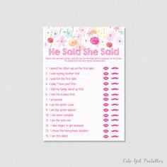 Floral Bridal Shower He Said She Said Game - Printable Bridal Shower Game - Guess Who Said It - Fuchsia Pink Bridal Games - 0005W