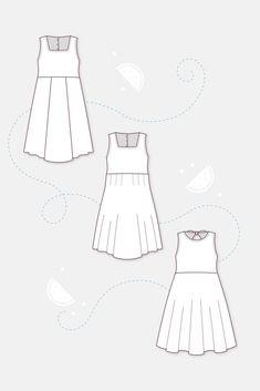 """Jerseykleid für Kinder, Schnittmuster """"Leni"""", mit verschiedenen Oberteil-Varianten, niedliches Drehkleid, mit fließend fallendem Rock, mit vielen niedlichen Details, wie Schleifen, Rüschen oder Borten #nähen #nähenfürkinder Sewing Summer Dresses, Sewing Patterns Girls, Summer Girls, Sew Dress, Rock, Accessories, Sewing For Kids, Technical Drawings, Skirt"""