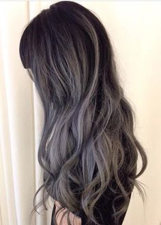Deep gray black balayage hairstyle
