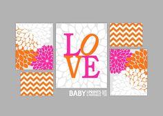 Pink and Orange Nursery art prints Set of 5 Love by babyartprints, $49.00