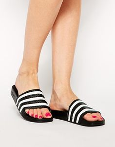pretty nice 0358d 76d5b adidas Originals Adilette Black  White Stripe Slider Sandals Adidas Nmd,  Sort Og Hvid,