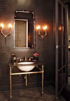 """Master Bathroom with Console Sink, High ceiling, Signature Hardware 30"""" Art Deco…"""