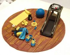 Hand made fondant gym equipment - by Le Gateau