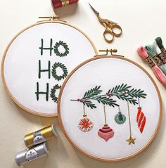Deck The Halls - pattern - Free Embroidery Patterns Christmas Embroidery Patterns, Embroidery Patterns Free, Hand Embroidery Stitches, Embroidery Hoop Art, Cross Stitch Embroidery, Embroidery Designs, Crochet, Deck, Xmas