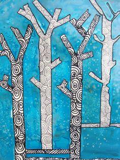 나무를 만드는 기본 마스킹 테이프를 사용하고 파란색 잉크 (소금은 잉크와 반응으로 젖어있는 동안이 매우...