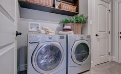Such a great laundry room - the built-in shelving above the washer and dryer is so convenient! House Plans, Home, Washer And Dryer, Show Home, Laundry Room, Shelving, Home Appliances