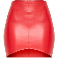Bekka Red Faux Leather Asymmetric Panel Mini Skirt ($21) ❤ liked on Polyvore featuring skirts, mini skirts, mini skirt, leather look skirt, red mini skirt, fake leather skirt and short mini skirts