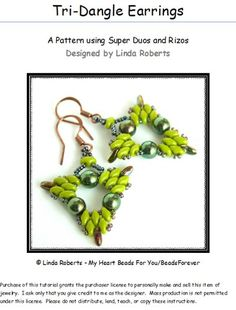 Beading Tutorial - Tri-Dangle Earrings - Super Duo and Rizo Beads | beadsforever - Jewelry on ArtFire, designed by Linda Roberts