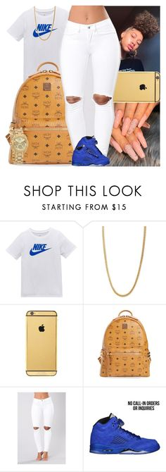 """""""Untitled #1611"""" by msixo ❤ liked on Polyvore featuring NIKE, Goldgenie, MCM and Michael Kors"""