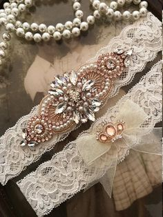 b1f66de535a Ivory wedding garter set
