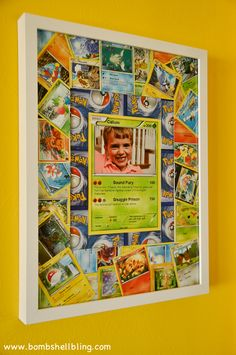OMGEE I love this!!!!! Coolest part of this seriously great Pokemon bedroom! Pokemon cards and ModPodge made the perfect decor item!