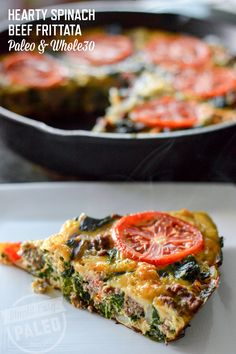 Hearty Spinach Beef Frittata is the perfect, protein-packed breakfast.   stupideasypaleo.com