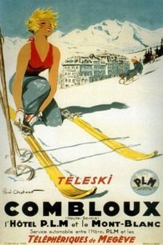 Amazon.com: Teleski Combloux Vintage Ski Poster: Home & Kitchen