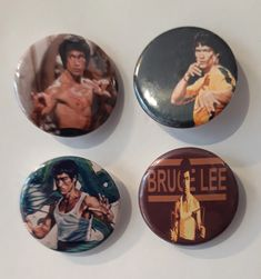Set of 4 Button Badges. Size: 25 cm (1 inch). Button Badge, Bruce Lee, Badges, Arcade, This Is Us, Buttons, Badge, Knots, Lapel Pins