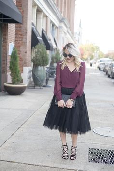 Holiday fashion; tulle skirts + berry tops