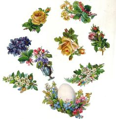 Victorian Group of small Die-cut Mixed Flowers, Rose's and Easter Egg (Image1)
