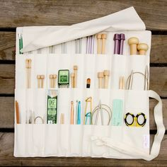 Sale Fresh Pink - Large Knitting Needle Case Organizer  - 30 natural pockets for circular, straight, dpn, or paint brushes. $29.95, via Etsy.