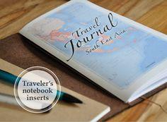 Printable Travel Journal Book - Midori travelers notebook REGULAR size book insert refills - South East Asia