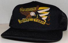 Operation Desert Storm Military Gulf War Vintage 90's Black Trucker Snapback Hat #YAHeadwear #Trucker