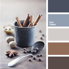 Colour of steel and cinnamon will look nice in the room where the basic materials for a wall decor is dark not-lacquered wood. These colours will look espe.