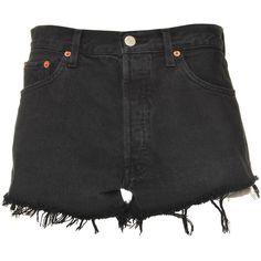 Ark Black Denim Levis Shorts ($30) ❤ liked on Polyvore featuring shorts, bottoms, pants, denim shorts, levi shorts, black jean shorts, black shorts and levi's