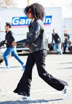 Red cat eye sunglasses + Black leather jacket + Adidas superstars