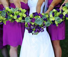 Purple and green wedding bouquets are punctuated with gorgeous green succulents.