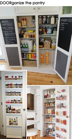 the chalkboard menu/grocery list inside the pantry! I also love the pantry, but that's another story. Pantry Storage, Kitchen Storage, Kitchen Decor, Spice Storage, Kitchen Ideas, Kitchen Design, Home Organisation, Pantry Organization, Pantry Ideas