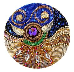 "Mo, this is also for you, because I think it is so beautiful and I know you appreciate art. Love and Light Mandala - ""On Thursdays She Wore Purple"" (Beaded Mosaic) by Diana Maus Bead Embroidery Jewelry, Beaded Embroidery, Embroidery Designs, Beaded Jewelry, Jewellery, Vintage Costume Jewelry, Vintage Costumes, Beaded Brooch, Shibori"