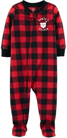 Carter s Toddler Boy Buffalo Plaid Santa s Helper Christmas Microfleece  Footed Pajamas 43ad6f7cf