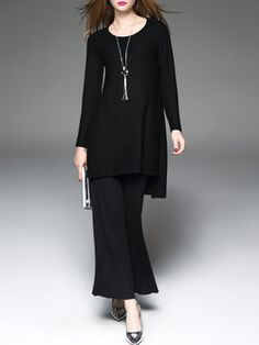 Black Wool Blend Two Piece Long Sleeve Jumpsuit