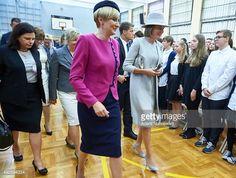 Belgium's Queen Mathilde and the first lady of Poland Agata Kornhauser-Duda.