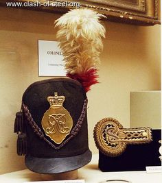 An British Officer's Shako and epaulette from the Regiment worn at the Battle of Waterloo Location The Regimental Museum of the Royal Dragoon Guards & The Prince of Wales Own Regiment of Yorkshire. British Army Uniform, British Uniforms, British Soldier, Waterloo 1815, Battle Of Waterloo, Royal Marines, Napoleonic Wars, British History, Military History