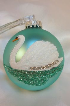 Hand Painted White Swan Glass Ball Ornament  by GlitterOrnaments,
