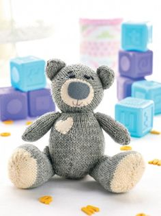 Designed by Jane Burns, Oliver is a classic tatty teddy to be loved and cherished for generations to come. Knitted in the round, he requires only two balls of British yarn and is safe for little ones so long as