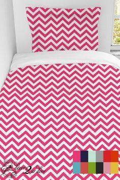 Custom Chevron Designer Duvet & Sham Set   Teen Girl & Dorm Room Bedding. Available in additional colors.