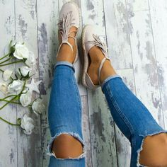 these shoes + ripped jeans perfect for spring Sock Shoes, Cute Shoes, Me Too Shoes, Shoe Boots, Shoes Sandals, Sandals Outfit, Stilettos, Shoe Closet, Crazy Shoes