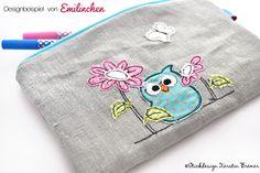 Tasche mit Eule Ursula Blumen Doodle Stickdatei von KerstinBremer.de. Designbeispiel von @emilinchen ♥ Owl doodle appliqué embroidery for embroidery machines.   #sticken #nähmalen #stickdesignkerstinbremer
